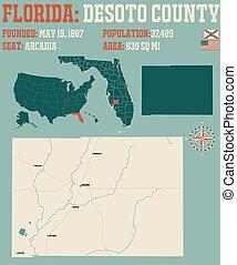 florida, desoto, megye, térkép
