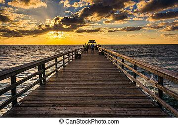 florida., felett, napnyugta, halászat, nápoly, móló