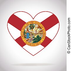 florida fl state flag in heart shape symbol logo icon vector illustration