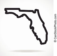 florida fl state map shape outline simplified vector