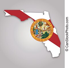 florida fl state map shape with flag and seal vector