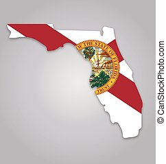 florida fl state map shape with flag vector
