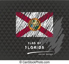 Florida flag, vector sketch hand drawn illustration on dark grunge background