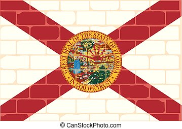 A brick wall with the Floridian flag graffiti