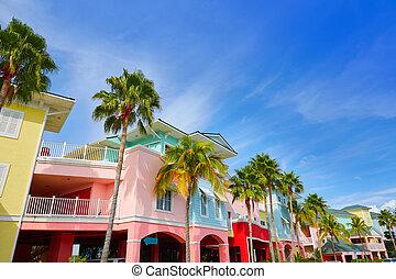 florida, fort, myers, kleurrijke, palmbomen, facades