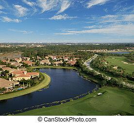 florida, golf kurs, flyover, antenne