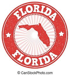 Florida grunge stamp - Grunge rubber stamp with the name and...