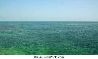 Florida Keys beautiful open water view of blue green...