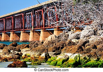 Florida Keys Bridge and Rocky Ocean Shore. Bahia Honda Park,...