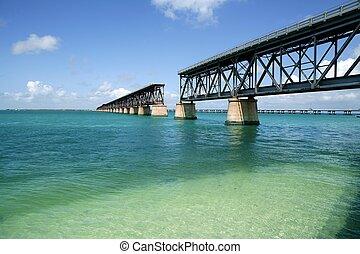 Florida keys broken bridge, turquoise water - old Florida...