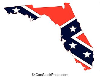 Florida Map And Confederate Flag - Outline of the map of...