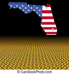 Florida map flag with hurricane warning sign foreground illustration