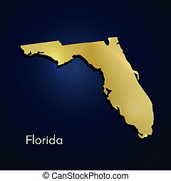 Florida Map Gold Texture On Blue Background