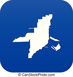 Florida map icon digital blue