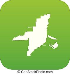 Florida map icon digital green