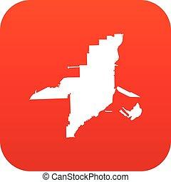 Florida map icon digital red