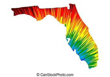 Florida - map is designed rainbow abstract colorful pattern