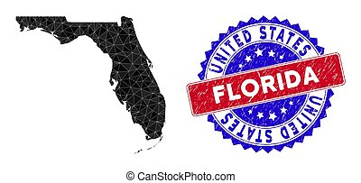 Florida map polygonal mesh with filled triangles, and rubber bicolor rubber seal. Triangle mosaic Florida map with mesh vector model, triangles have randomized sizes, and positions, and color tints.