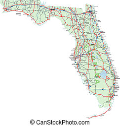 Florida Map with Interstates, US Highways and State Roads....