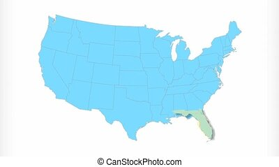 Florida Map Zooms Out of USA - Florida animated map video,...