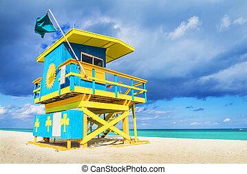 florida, miami, salvavidas, playa, torre
