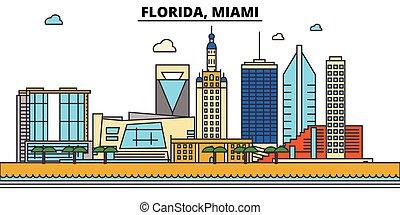 Florida, Miami.City skyline: architecture, buildings, streets, silhouette, landscape, panorama, landmarks, icons. Editable strokes. Flat design line vector illustration concept.