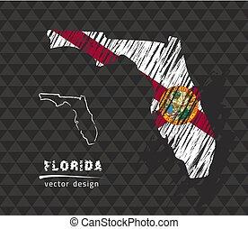 Florida national vector map with sketch chalk flag. Sketch chalk hand drawn illustration