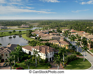 Florida Neighborhood Flyover Aerial - Aerial photograph...
