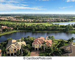 Aerial photograph taken during a flyover of a Florida neighborhood and private golf course.