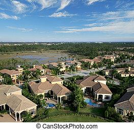 Florida Neighborhood Flyover Aerial - Aerial photograph ...