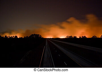Florida on Fire - Closed I95 roadway with brush fire in...