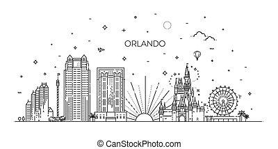 florida., orlando, ville, bannière, linéaire