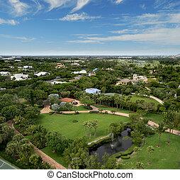Florida Park Flyover Aerial - Aerial photograph taken during...