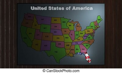 Florida pull out from USA states abbreviations map - State...