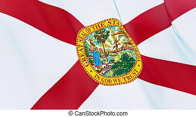 florida., qualité, élevé, drapeau, illustration, render., soie, 3d, onduler