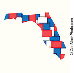 Florida red, white, blue color squares map. Concept of politics, counties, elections.