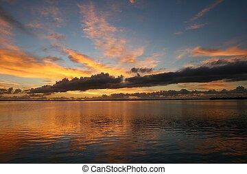 florida, solopgang, indisk, flod