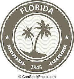 Florida stamp - FL state label with palm trees