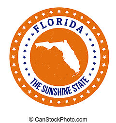Florida stamp - Vintage stamp with text The Sunshine State ...