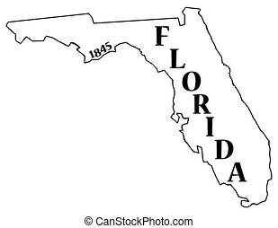 Florida State and Date - A Florida state outline with the...