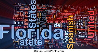 Background concept wordcloud illustration of Florida American state glowing light