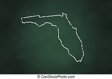 Florida State Borderline Map Chalk Style