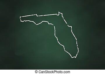 Florida State Borderline Map Chalk Style