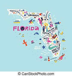 Florida state color map flat