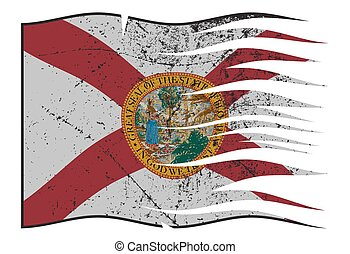 Florida State Flag Wavy And Grunged