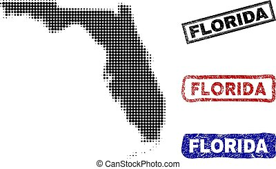 Florida State Map in Halftone Dot Style with Grunge Name Stamps