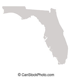 Florida State map isolated on a white background, USA.
