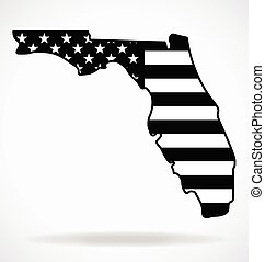 florida state map shape with usa flag black white vector