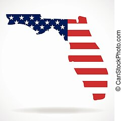 florida state map shape with usa flag vector