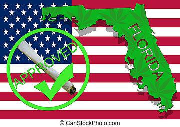 Florida State on cannabis background. Drug policy. Legalization of marijuana on USA flag,